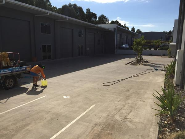 cleaning carpark concrete - before